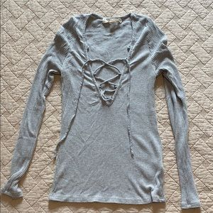Urban Outfitters lace up grey long sleeve top
